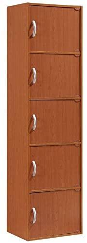Pemberly Row 5 Shelf 5 Door Bookcase in Cherry