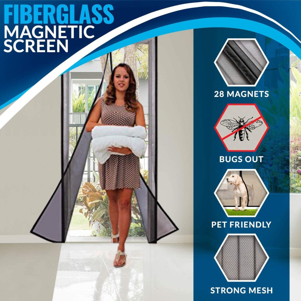 Portable Magnetic Screen Door Curtain