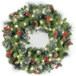 Christmas door wreaths front door with lights